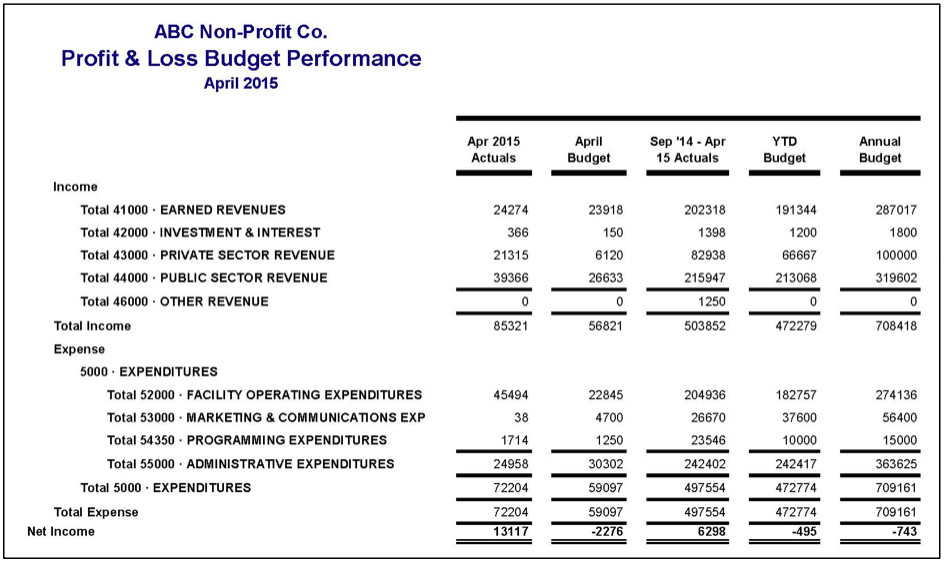 example of a profit and loss statement that compares actual revenues and expenses to the annual budget
