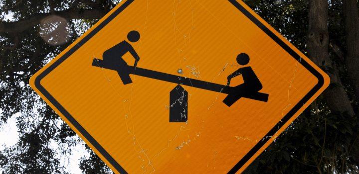 road sign beware of teeter totter